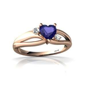 14k Rose Gold Heart Created Sapphire Ring Size 9 Jewelry