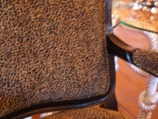 French Style Black Armchair w/ Leopard Print Upholstery