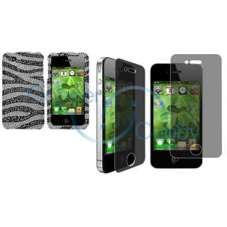 Black Zebra Bling Diamond Case+Privacy LCD Guard For iPhone 4 s 4s 4G