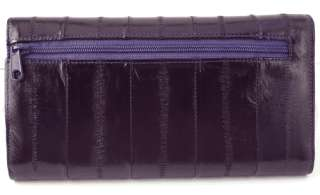 GENUINE EEL SKIN LEATHER CLUTCH WALLET PURSE     Purple