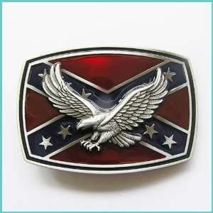 Rebel Flag Southern Pride Soaring Eagle Blet Buckle 3D 047
