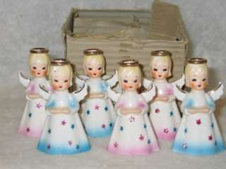 Christmas Shafford Ceramic Angel Place Card Candle Holders IOB T28