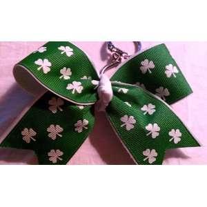 St Patricks Day, Green, Irish, Shamrock Cheer Bow Keychain
