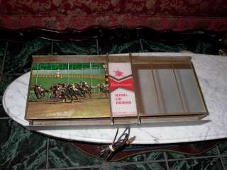 Vintage Budweiser King of Beers Race Horses Sign Mirror Lights Up