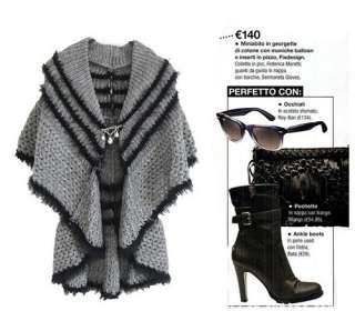 Fashion Womens Black/Gray Cape Cardigan Cotton Sweater Outerwear S M L