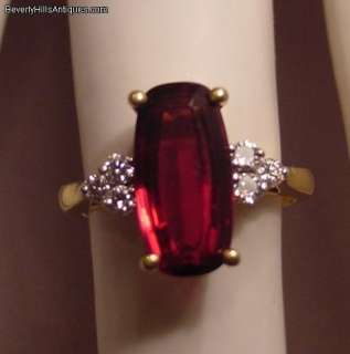 Red Rubellite Tourmaline 6 Diamonds 18k Gold Ring