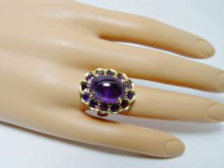 Giant Vintage 11ct Amethyst Ring 14K Gold 10.8gr HEAVY Estate Jewelry
