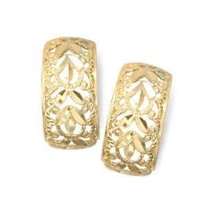 14KT Filigree Hoop Earrings Gold and Diamond Source Jewelry