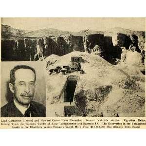 1923 Print Lord Carnarvon Carter Egypt Tomb King Tut   Original
