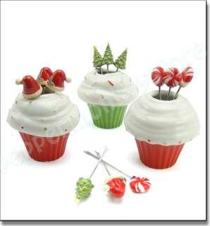 Christmas Tree Santa Cupcake Appetizer Picks Forks with Holder Set