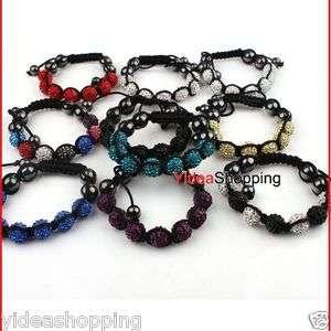 Beads Adjustable Fabric Bracelet Anklet CRYSTAL DISCO BALL