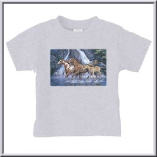 Waterfall Horses Painting T Shirt INFANTS,TODDLERS,KIDS