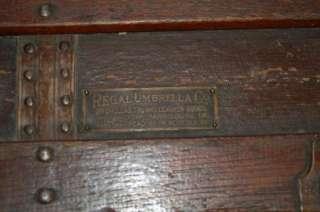 Antique Flat top Trunk Orig Regal Umbrella Co. Tag