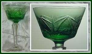 EMERALD GREEN Wine Glass Goblet CUT CRYSTAL Germany