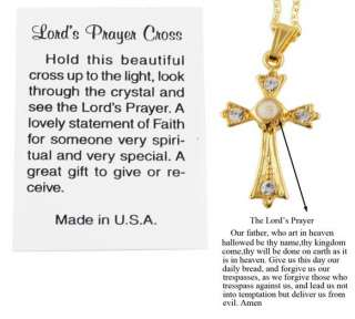 14kt Gold Ep Lords Prayer Crystal Cross Pendant & Chain