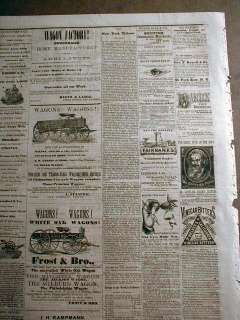 1872 San Antonio TEXAS newspaper w BEST Large ILUSTRATED EYE DOCTOR AD