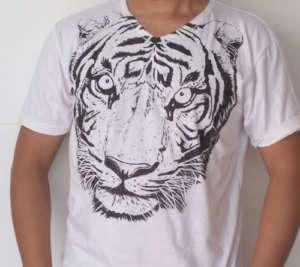 Unique Stencil Retro Big Tiger Head T shirt Asia Size