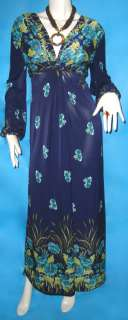 Sale Hippie BOHO long sleeve blue floral Maxi dress