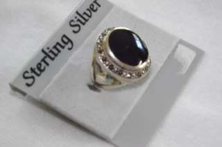 Sterling Silver Large Oval Onyx and Marcasite Ring Art Deco 7 grams