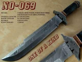 ONE OF A KIND CUSTOM DAMASCUS PREDATOR BOWIE KNIFE  NO 69