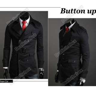 2011 Mens Fashion Korea Slim Classic Double Breasted Wool Coat Jacket