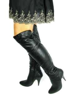 NEW OVER THE KNEE LENGTH HIGH HEEL BLACK BOOTS SIZE 3 8