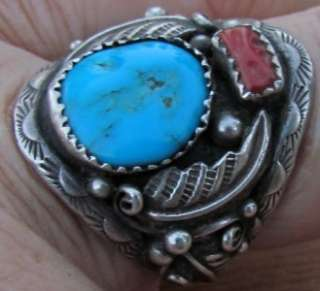 MENS OLD PAWN VINTAGE WESTERN STAMPED STERLING SILVER TURQUOISE CORAL