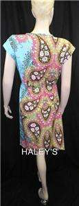 New Lola P Size Small Paisley Aqua Pink Brown White Floral Dress Free