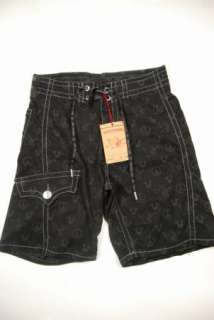 NWT Mens True Religion Black Peaceful Buddha Board Shorts Swim Trunks