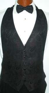 Fuschia Paisley Tuxedo Vest / Tie Formal Boys Large