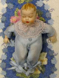 TINY BABY~2 inch boy doll~ infant~Heidi Ott blue outfit~dollhouse