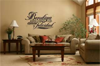 con amor y felicidad Spanish Vinyl Wall Decal Sticker Letters