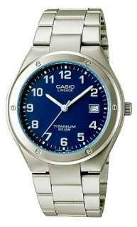 CASIO LIN164 2A LINEAGE MENS TITANIUM 50M DRESS WATCH BLUE DIAL QUARTZ