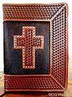 PRAYING HANDS TOOLED LEATHER BIBLE COVER   ZIPPERED CLOSURE