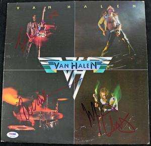 VAN HALEN & MICHAEL ANTHONY SIGNED ALBUM COVER PSA/DNA #Q02739