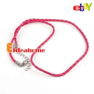 Multi Color Braided Leather Rope Cords Necklaces+Lobster Clasp Fit