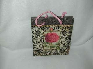 PUNCH STUDIO BLACK DAMASK W/ROSE PAPER GIFT BAG NRE