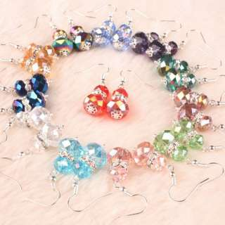 Mixed AB Crystal Glass Faceted Beads Earring 12 Pairs