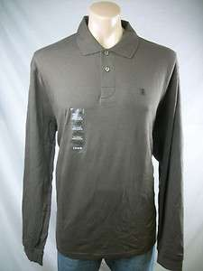 New Mens IZOD Coffee Brown Long Sleeve Smooth Cotton Polo Shirt X
