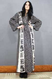 60s b/w OP ART Linen GODDESS Cotton KIMONO Mod HIPPIE Maxi Dress L/XL