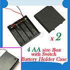 New 4 AA 2A Battery 6V Holder Box Case with ON/OFF Switch Black