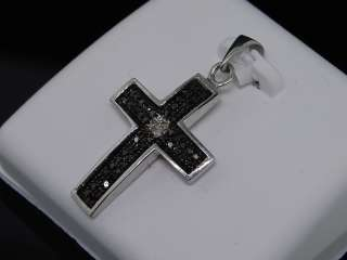 LADIES WHITE GOLD FINISH BLACK DIAMOND CROSS PENDANT