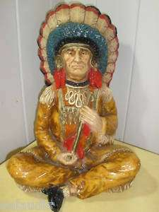 Vintage Hand Painted Indian Chief Style Statue