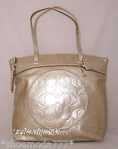 328 COACH Laura Large Leather Tote Bag Travel Business Shopping Gold