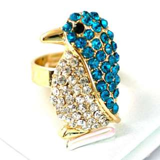 Penguin Gemstone Gold plate Diamante Adjustable Ring Fashion