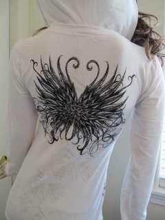 Scrolls Crystals Rhinestones Black Tattoo Hoodie White Tee T Shirt