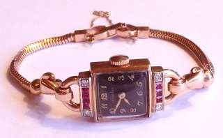 RARE 14k Solid Rose Gold Ruby Diamond Longines Ladies Vintage Black