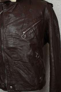 Brown STEERHIDE Leather Motorcycle Biker Jacket 40 Medium