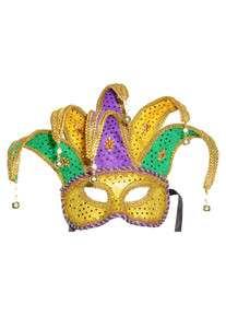 Mardi Gras Jester Halloween Mask (Purple/Green/Gold)