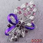 Bouquet flowers 6Color 33*53MM Brooch Pin White Gold Plating Czech